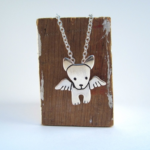 Sterling Silver Mini Angel Pibble Necklace