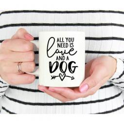All You Need is Love and a Dog with Arrow Mug 15oz.